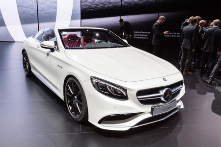 messe: Frankfurt, Deutschland - September 15, 2015: 2016 Mercedes-AMG S63 Cabriolet presented on the 66th International Motor Show in the Messe Frankfurt Editorial
