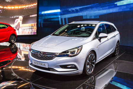 messe: Frankfurt, Deutschland - September 15, 2015: 2016 Opel Astra K Sports Tourer presented on the 66th International Motor Show in the Messe Frankfurt Editorial