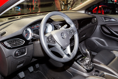 astra: Frankfurt, Deutschland - September 15, 2015: 2016 Opel Astra K presented on the 66th International Motor Show in the Messe Frankfurt Editorial