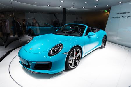 carrera: Frankfurt, Deutschland - September 15, 2015: in 2016 the Porsche 911 Carrera S Cabiolet presented on the 66th International Motor Show in the Messe Frankfurt