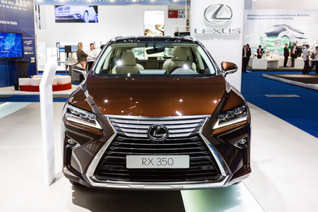 lexus auto: Frankfurt, Deutschland - September 15, 2015: 2016 Lexus RX 350 presented on the 66th International Motor Show in the Messe Frankfurt