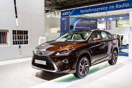 rx: Frankfurt, Deutschland - September 15, 2015: 2016 Lexus RX 350 presented on the 66th International Motor Show in the Messe Frankfurt