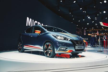 Paris, France - September 29, 2016: 2017 Nissan Micra presented on the Paris Motor Show in the Porte de Versailles Editorial