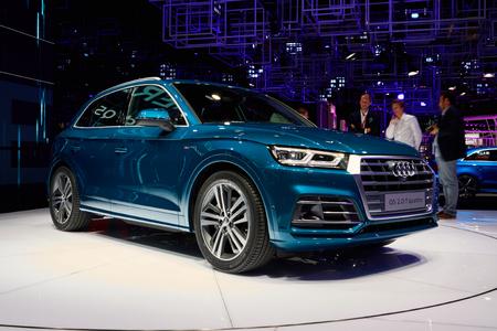 Paris, France - September 29, 2016: 2017 Audi Q5 presented on the Paris Motor Show in the Porte de Versailles
