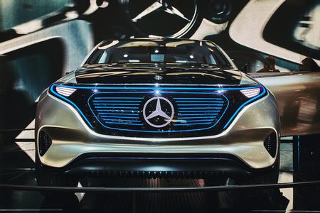 eq: Paris, France - September 29, 2016: 2016 Mercedes-Benz EQ Concept presented on the Paris Motor Show in the Porte de Versailles