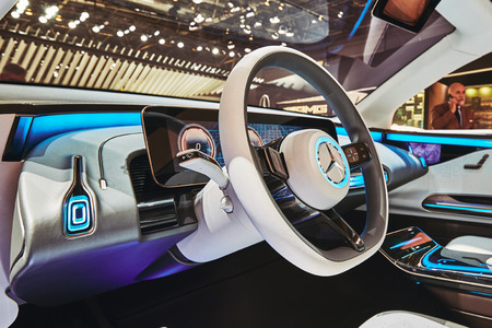 Paris, France - September 29, 2016: 2016 Mercedes-Benz EQ Concept presented on the Paris Motor Show in the Porte de Versailles