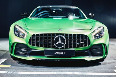 Paris, France - September 29, 2016: 2017 Mercedes-AMG GT R presented on the Paris Motor Show in the Porte de Versailles