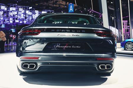 turbo: Paris, France - September 29, 2016: 2017 Porsche Panamera Turbo presented on the Paris Motor Show in the Porte de Versailles