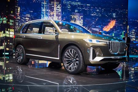 Frankfurt, Germany - September 12, 2017:  2017 BMW X7 Concept presented on the 67-th Frankfurt International Motor Show(IAA) in the Messe Frankfurt