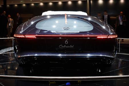 Frankfurt, Germany - September 12, 2017:  2017 Mercedes-Maybach 6 Cabriolet presented on the 67-th Frankfurt International Motor Show(IAA) in the Messe Frankfurt