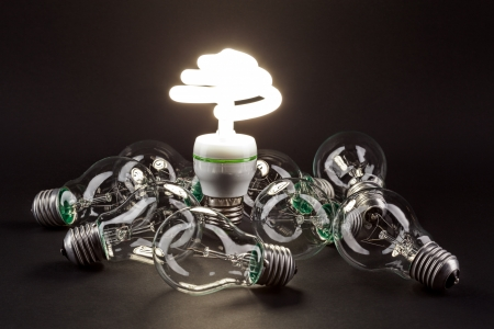 Different lamp  Concept for energy conservation  photo