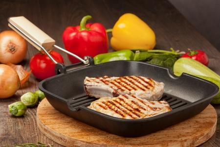 gril: Grilled steak with vegetables Still life