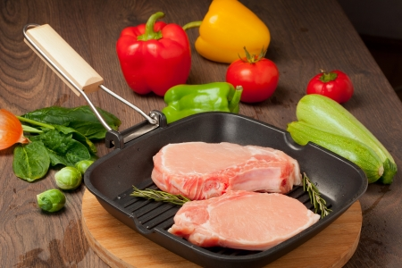 pieces of raw meat for cooking and  barbecue photo