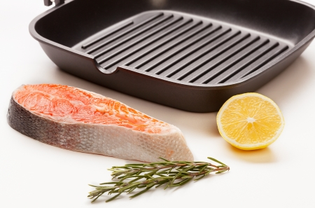 trout fillet with frying pan Stock Photo - 17279922