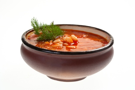 Ukrainian and russian national red soup  photo
