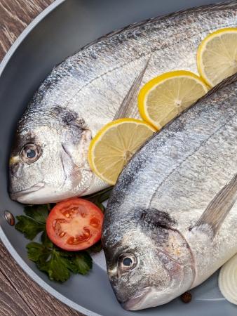 Dorado fish prepared for baking