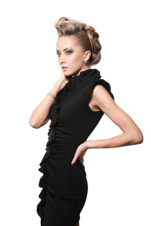 sexually: blond woman with fashion hairstyle, isolated on white