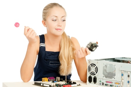 Computer Repair Engineer, blonde girl Stock Photo - 17508849