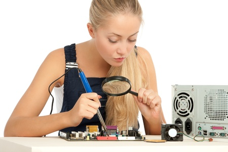 soldering: Computer Repair Engineer, blonde girl Stock Photo
