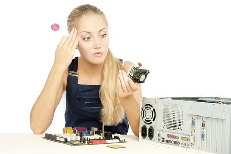Computer Repair Engineer, blonde girl Stock Photo - 17508844