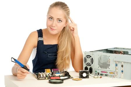 Computer Repair Engineer, blonde girl Stock Photo - 17508859