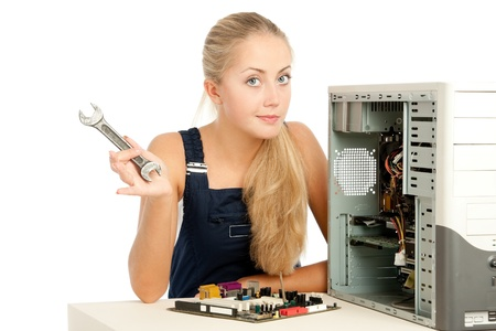 Computer Repair Engineer, blonde girl photo