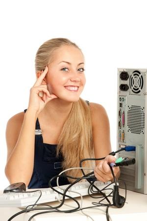 Computer Repair Engineer, blonde girl Stock Photo - 17508874