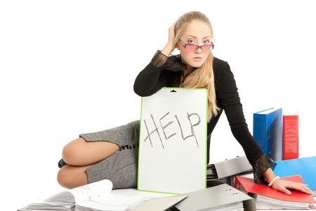 accountant siting near to stack of files Stock Photo - 17508845