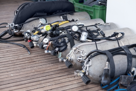 deepsea: Diving equipment on the safari boat Stock Photo