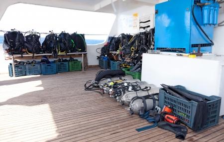Diving equipment on the safari boat Standard-Bild