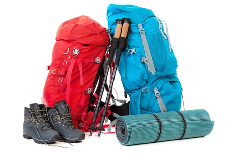 Hiking gear, isolated on white background