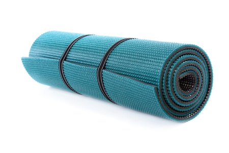 Exercise mat on white background Stock Photo
