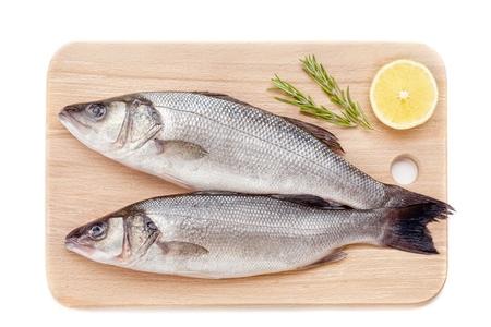 Fresh sea bass on white background