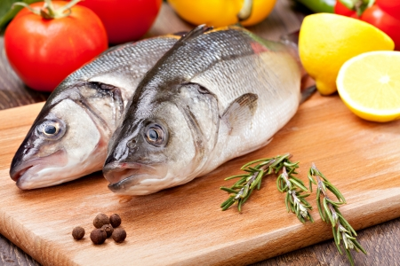 Sea Bass with the vegetables  and lemon Stock Photo - 17661070