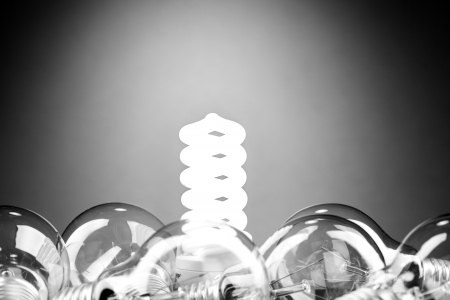 Different lamp. Concept for energy conservation photo