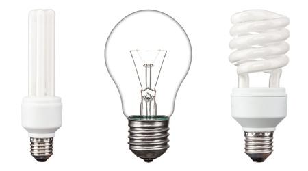 Energy saving light bulbs,  on white background
