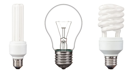 low light: Energy saving light bulbs,  on white background