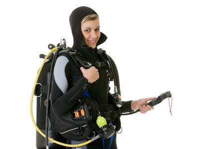 diver cheking pressure by manometer before dive Imagens
