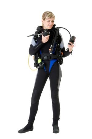 diver cheking pressure by manometer before dive Stock fotó