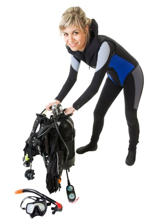 diver cheking pressure by manometer before dive photo