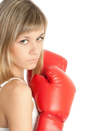 A woman in boxing gloves  Isolated on white Stock Photo - 17725946