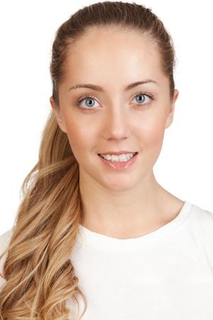 feeling positive: retrato de una joven rubia atractiva, aislado en blanco
