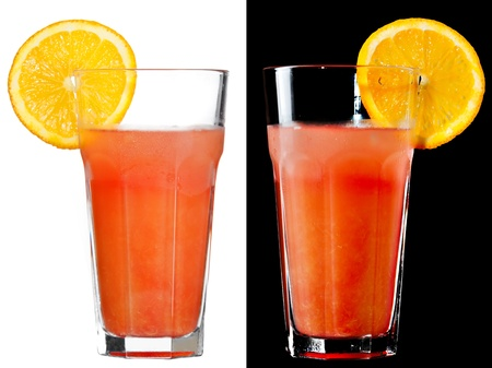 A couple of identical alcoholic cocktails on the white and black background Stock Photo - 19012015