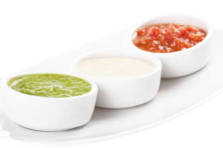 palette of sauces isolated on white background