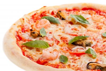 gourmet pizza: Pizza on white background Stock Photo