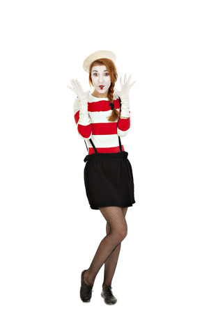 Portrait of the female MIM comedian, isolated on white background Imagens