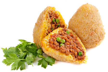 fillings: Traditional Italian food of rice with fillings, covered with bread crumbs, and fried  Stock Photo
