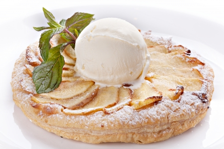 Apple piel  with ice cream and mint  photo