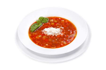 minestrone: Minestrone -  light soup of seasonal vegetables  Italian cuisine  Isolated on white