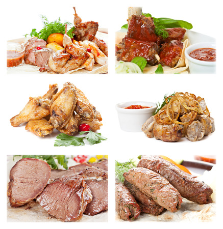 Collection of meat food on a white for  restaurant menu photo